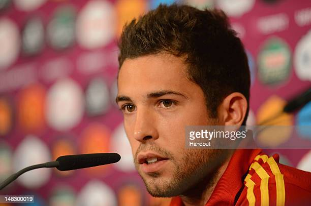 In this handout image provided by UEFA Jordi Alba of Spain talks to the media during a UEFA EURO 2012 press conference at the Municipal Stadium on...