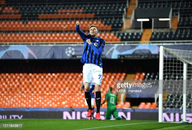 In this handout image provided by UEFA Josip Ilicic of Atalanta ceebrates after he scores his sides fourth goal during the UEFA Champions League...