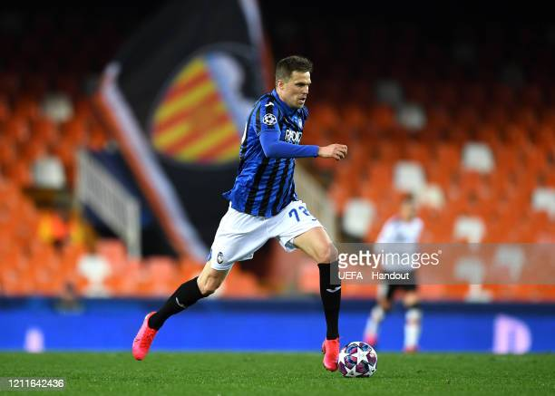In this handout image provided by UEFA Josip Ilicic of Atalanta in action during the UEFA Champions League round of 16 second leg match between...