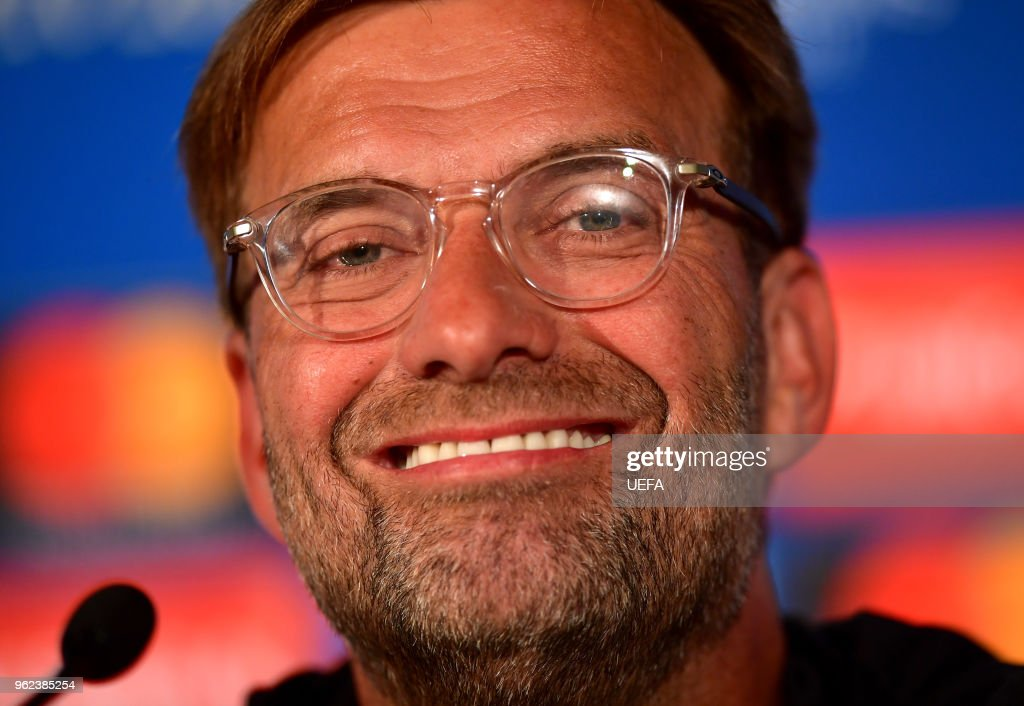 In this handout image provided by UEFA Jurgen Klopp, Manager of Liverpool looks on during a Liverpool press conference ahead of the UEFA Champions League Final against Real Madrid at NSC Olimpiyskiy Stadium on May 25, 2018 in Kiev, Ukraine.