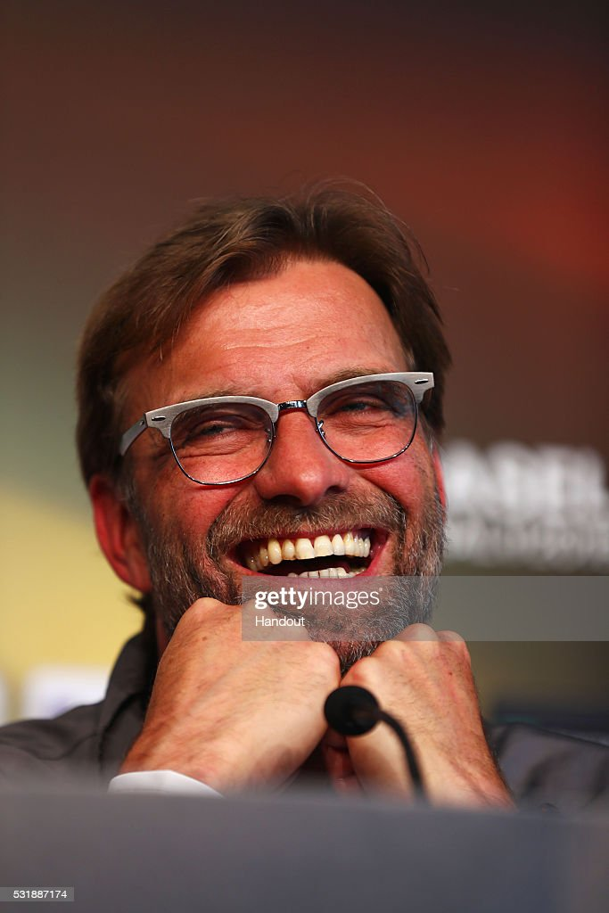 In this handout image provided by UEFA, Jurgen Klopp, manager of Liverpool talks during a Liverpool press conference on the eve of the UEFA Europa League Final against Sevilla at St. Jakob-Park on May 17, 2016 in Basel, Switzerland.
