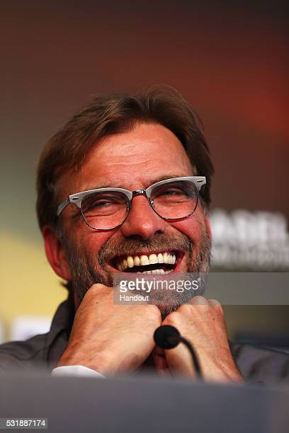 In this handout image provided by UEFA Jurgen Klopp manager of Liverpool talks during a Liverpool press conference on the eve of the UEFA Europa...