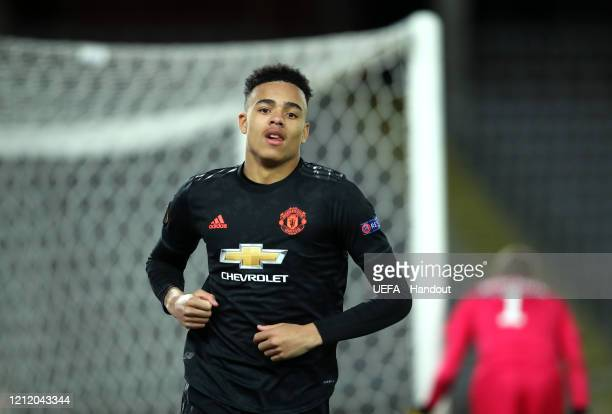 In this handout image provided by UEFA Mason Greenwood of Manchester United celebrates after scoring his team's fourth goal during the UEFA Europa...