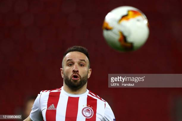 In this handout image provided by UEFA Mathieu Valbuena of Olympiacos in action during the UEFA Europa League round of 16 first leg match between...