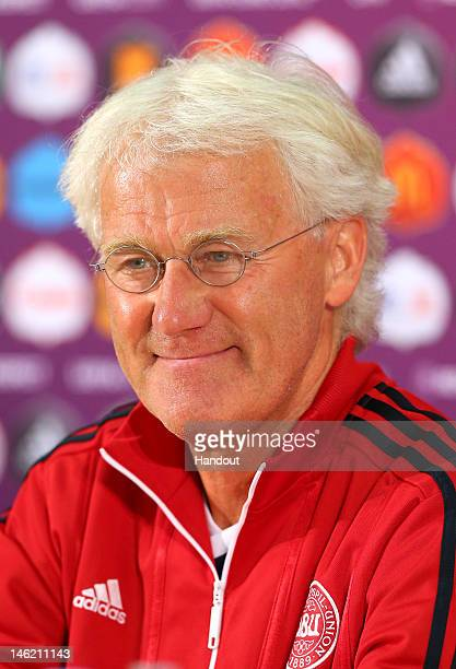 L'VIV UKRAINE JUNE 12 In this handout image provided by UEFA Morten Olsen the coach of Denmark talks to the media during a UEFA EURO 2012 press...