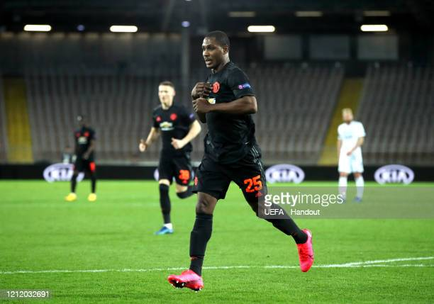 In this handout image provided by UEFA Odion Ighalo of Manchester United celebrates after scoring his team's first goal during the UEFA Europa League...