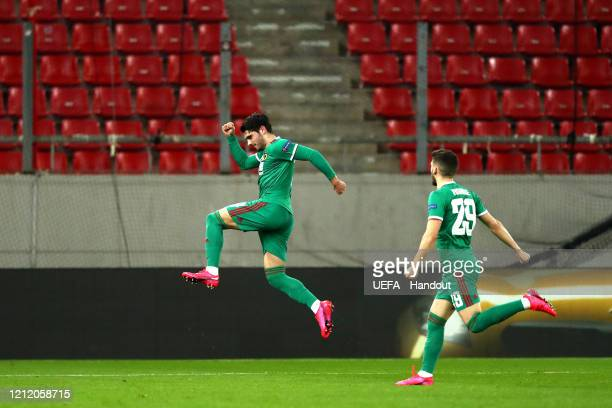 In this handout image provided by UEFA Pedro Neto of Wolverhampton Wanderers celebrates after scoring his team's first goal during the UEFA Europa...