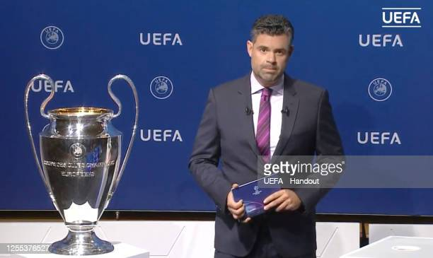 In this handout image provided by UEFA Pedro Pinto presents during the UEFA Champions League Draw at The UEFA Headquarters on July 10, 2020 in Nyon,...