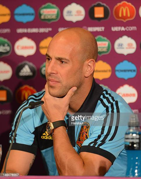 In this handout image provided by UEFA Pepe Reina of Spain talks to the media during a UEFA EURO 2012 press conference at the Municipal Stadium on...