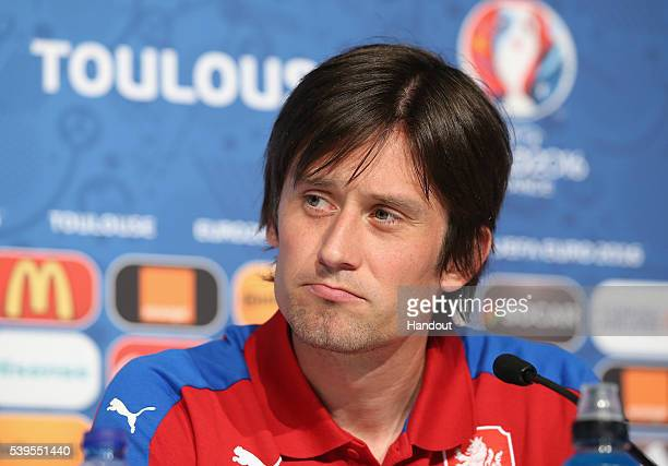 In this handout image provided by UEFA Player Tomas Rosicky of Czech Republic attends the Czech Republic press conference at Stadium Municipal on...
