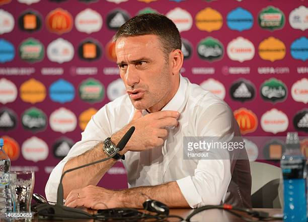 In this handout image provided by UEFA, Portugal coach Paulo Bento talks to the media after the UEFA EURO 2012 Quarter Final match between Czech...