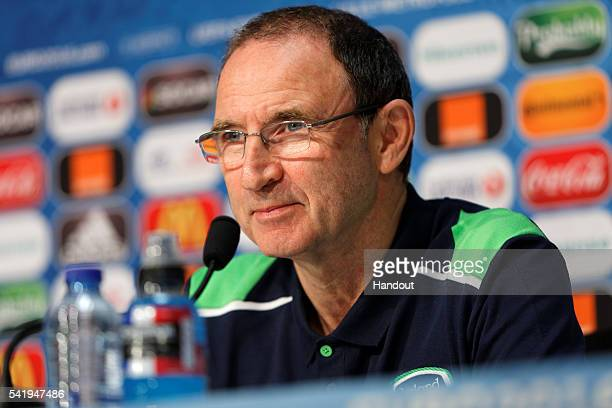 In this handout image provided by UEFA Republic of Ireland head coach Martin O'Neill during a press conference on June 21 2016 in Lille France