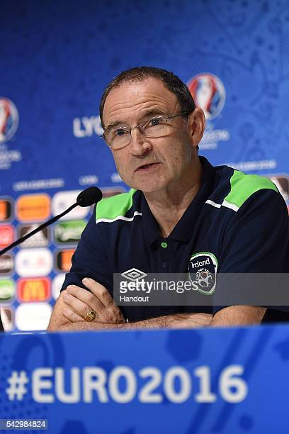 In this handout image provided by UEFA, Republic of Ireland head coach Martin O'Neill faces the media during the Republic of Ireland press conference...