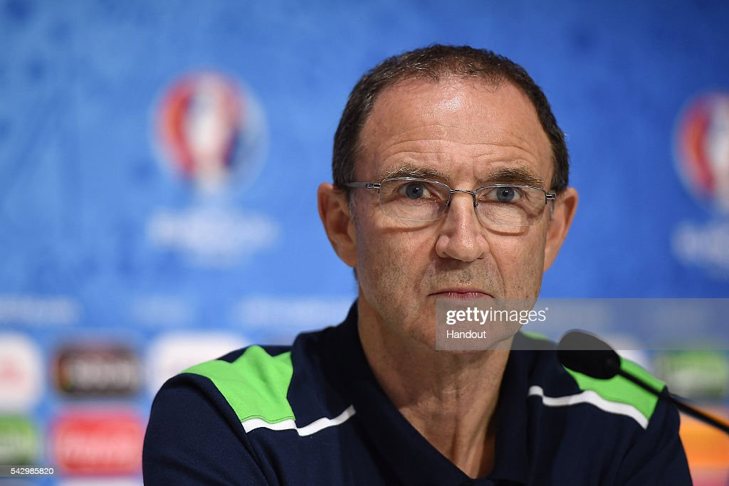 In this handout image provided by UEFA, Republic of Ireland head coach Martin O'Neill faces the media during the Republic of Ireland press conference on June 25, 2016 in Lyon, France.