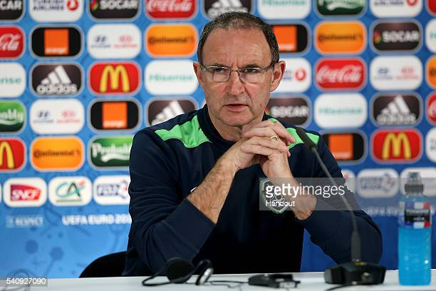 In this handout image provided by UEFA Republic of Ireland's head coach Martin O'Neill looks on during a press conference at Matmut Atlantique...