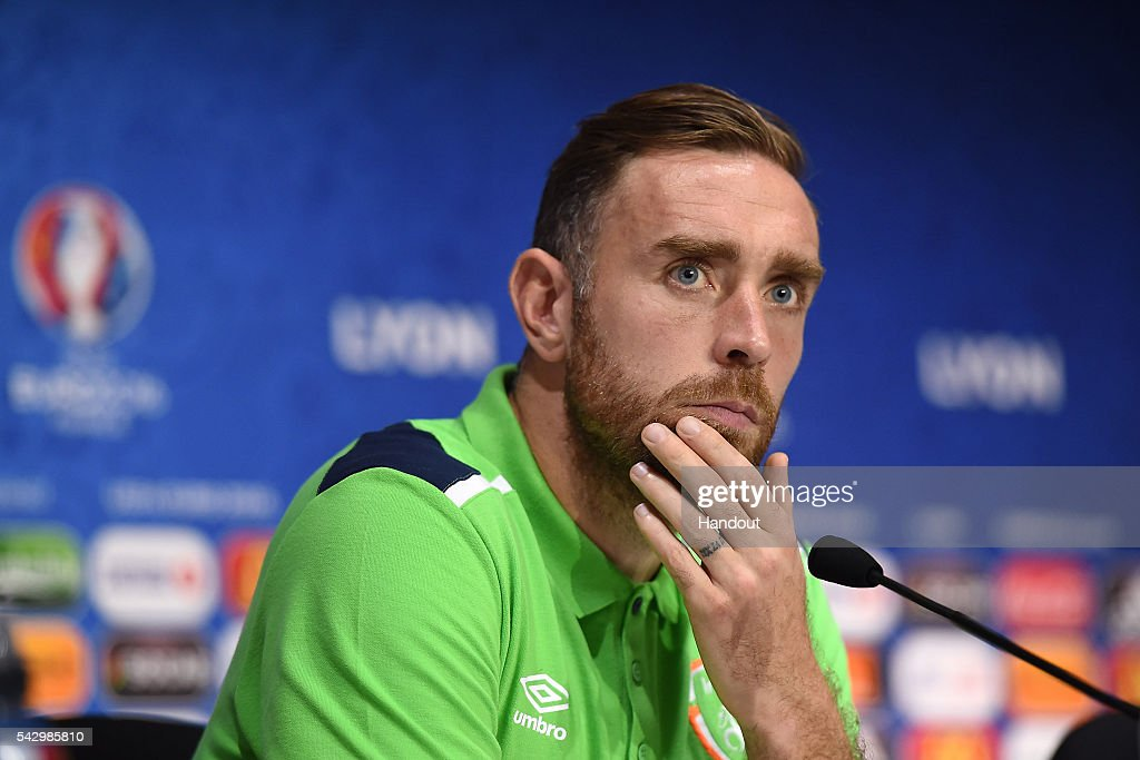 In this handout image provided by UEFA, Richard Keogh of Republic of Ireland faces the media during the Republic of Ireland press conference on June 25, 2016 in Lyon, France.