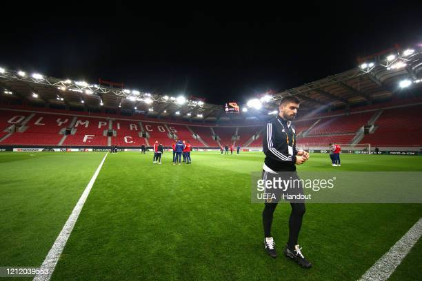 In this handout image provided by UEFA Ruben Neves of Wolverhampton Wanderers walks off the pitch prior to the UEFA Europa League round of 16 first...