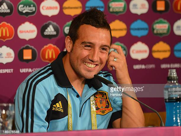 In this handout image provided by UEFA Santi Cazorla of Spain talks to the media during a UEFA EURO 2012 press conference at the Municipal Stadium on...