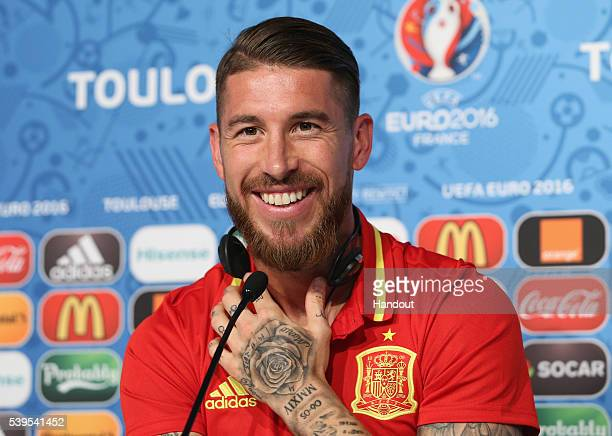 In this handout image provided by UEFA Sergio Ramos of Spain attends the Spain press conference at Stadium Municipal on June 12 2016 in Toulouse...