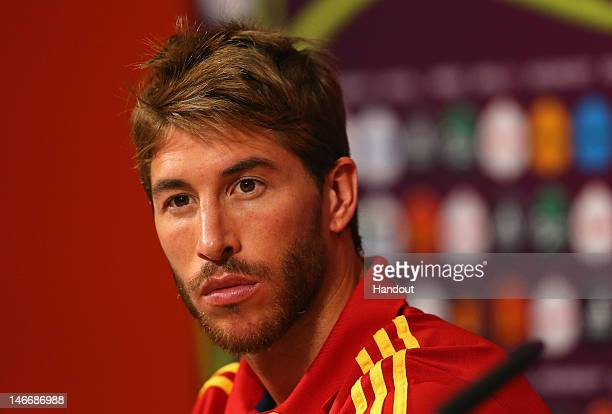 In this handout image provided by UEFA, Sergio Ramos of Spain talks to the media during a UEFA EURO 2012 press conference at the Donbass Arena on...