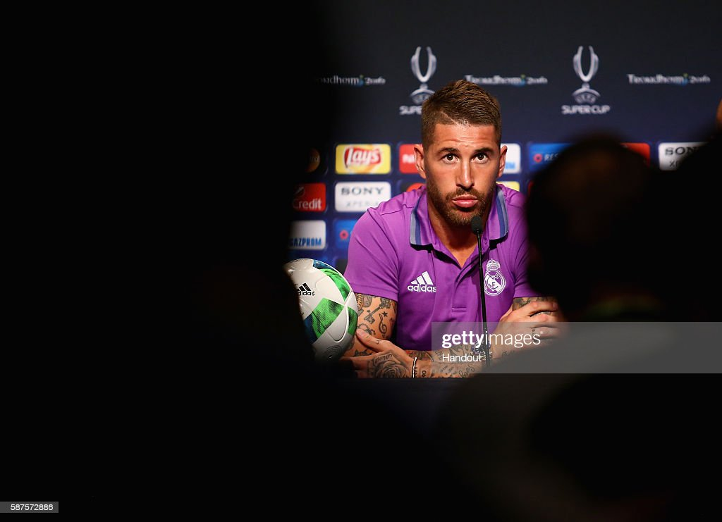 In this handout image provided by UEFA, Sergio Ramos talks to the media during the Real Madrid Press Conference at Lerkendal Stadion on August 8, 2016 in Trondheim, Norway.