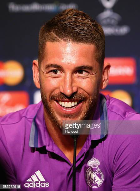 In this handout image provided by UEFA Sergio Ramos talks to the media during the Real Madrid Press Conference at Lerkendal Stadion on August 8 2016...