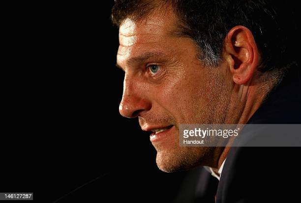 In this handout image provided by UEFA Slaven Bilic of Croatia talks to the press during a UEFA EURO 2012 press conference after the UEFA 2012 Group...
