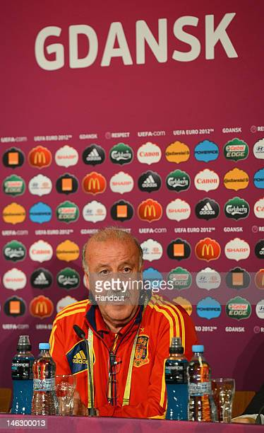 In this handout image provided by UEFA Spain coach Vicente del Bosque talks to the media during a UEFA EURO 2012 press conference at the Municipal...