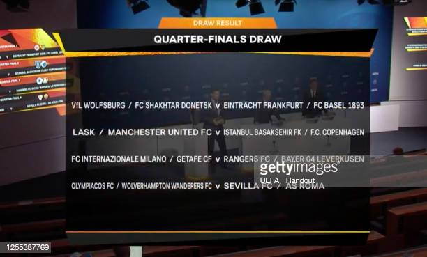 in this handout image provided by UEFA The draw in full is seen during the UEFA Europa League Draw at The UEFA Headquarters on July 10 2020 in Nyon...