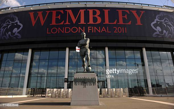In this handout image provided by UEFA the memorial statue to Bobby Moore is pictured at Wembley Stadium as preparations continue for the Champions...