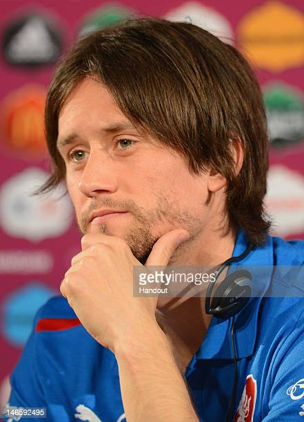 In this handout image provided by UEFA, Tomas Rosicky of Czech Republic talks to the media during a UEFA EURO 2012 press conference at the National...