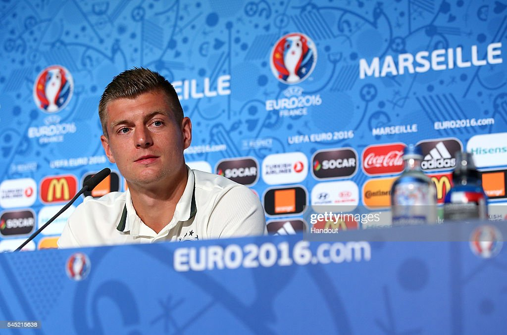 In this handout image provided by UEFA, Toni Kroos faces the media during the Germany press conference at Stade Velodrome on July 6, 2016 in Marseille, France.