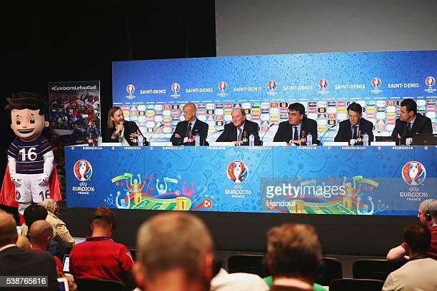 In this handout image provided by UEFA UEFA EURO 2016 mascot Super Victor David Guetta UEFA EURO 2016 Music Ambassador Pierluigi Collina UEFA Chief...