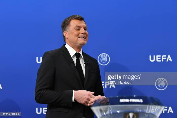 In this handout image provided by UEFA UEFA Europa League Ambassador Thomas Helmer on stage during the UEFA Europa League 2019/20 Quarterfinal...