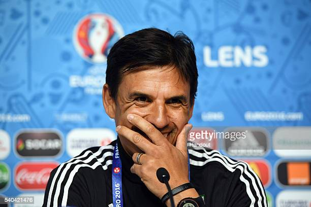 In this handout image provided by UEFA Wales manager Chris Coleman faces the media during a press conference on June 15 2016 in Lens France