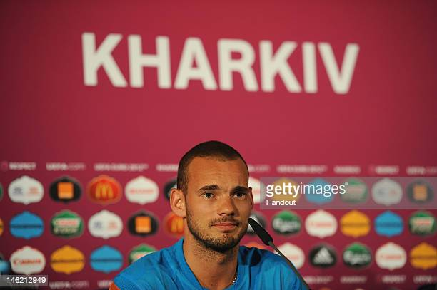 In this handout image provided by UEFA Wesley Sneijder of Netherlands during a UEFA EURO 2012 press conference at the Metalist Stadium on June 12...