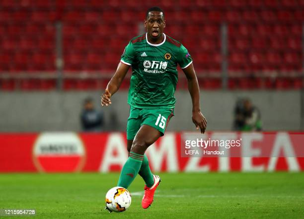 In this handout image provided by UEFA Willy Boly of Wolverhampton Wanderers in action during the UEFA Europa League round of 16 first leg match...