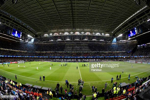In this handout image provided by UEFAA General view inside the stadium is seen prior to the UEFA Champions League Final between Juventus and Real...