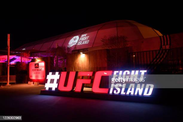 In this handout image provided by UFC, a general view of the Flash Forum on UFC Fight Island prior to the UFC 251 event on July 12, 2020 on Yas...