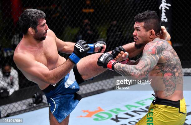 In this handout image provided by UFC, Beneil Dariush of Iran kicks Diego Ferreira of Brazil in their lightweight fight during the UFC Fight Night...
