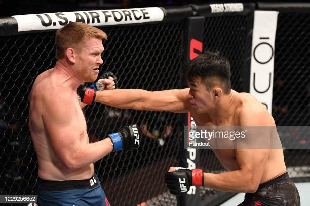 In this handout image provided by UFC, Da-un Jung of South Korea punches Sam Alvey in their light heavyweight bout during the UFC 254 event inside...