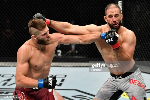 In this handout image provided by UFC, Jiri Prochazka of the Czech Republic punches Volkan Oezdemir of Switzerland in their light heavyweight fight...