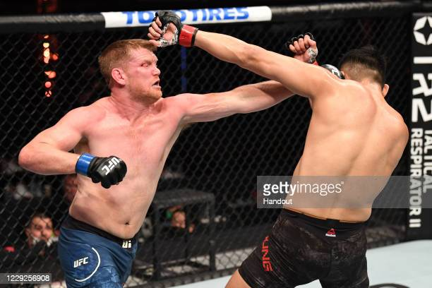 In this handout image provided by UFC, Sam Alvey punches Da-un Jung of South Korea in their light heavyweight bout during the UFC 254 event inside...