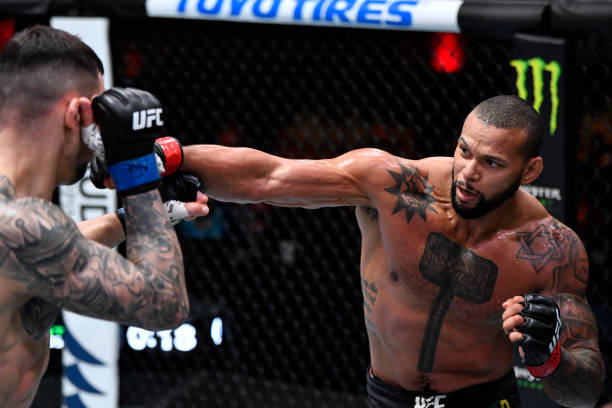 In this handout image provided by UFC, Thiago Santos of Brazil punches Aleksandar Rakic of Austria in their light heavyweight fight during the UFC...