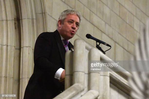In this handout image provided by UK Parliament Speaker of the House of Commons John Bercow speaks at the marking of the Centenary of the...