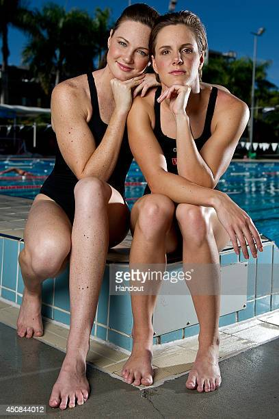 In this handout image provided by Uncle Tobys Cate and Bronte Campbell pose during a portrait session at the Valley Pool on June 2 2014 in Brisbane...