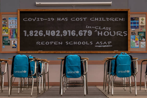 """NY: UNICEF Unveils The """"No Time to Lose"""" Installation At UN Headquarters In New York To Raise Awareness About The More Than 1.8 Trillion Hours - And Counting - Of In-person Learning Lost Since The Onset Of The COVID-19 Pandemic And Subsequent Lockdowns"""