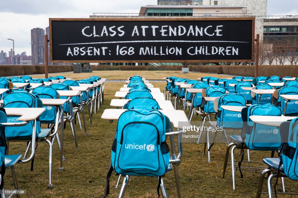 COVID-19: UNICEF unveils Pandemic Classroom at UN Headquarters in New York to raise awareness about the more than 168 million children globally without access to in-class learning for almost a full year : Nieuwsfoto's