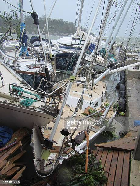 In this handout image provided by UNICEF the storm damage is seen on March 14 2015 in Port Vila Vanuatu Cyclone Pam is pounding South Pacific islands...