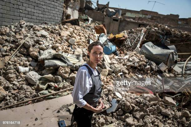 In this handout image provided by United Nations High Commission for Refugees UNHCR Special Envoy Angelina Jolie visits the Old City in West Mosul...